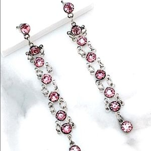 Pink Rhinestone Ladder Earrings